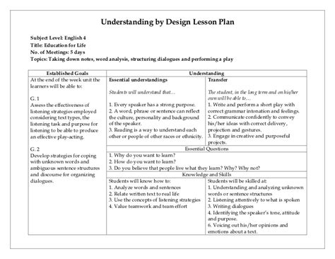 understanding by design lesson plan template understanding by design lesson plan