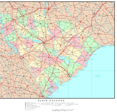 road map of south carolina usa south carolina political map