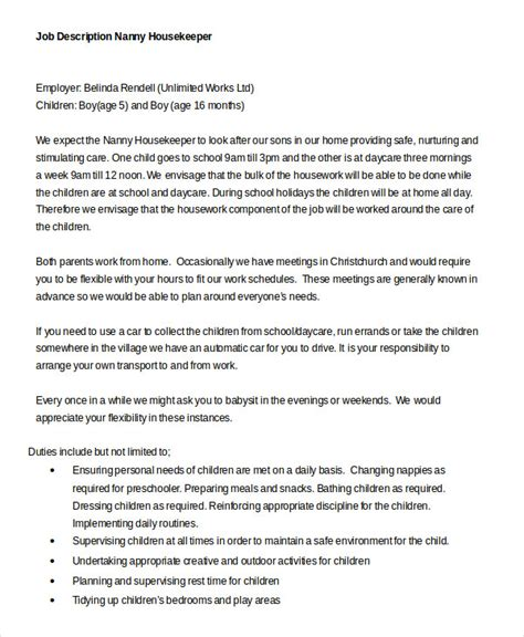 sle resume nanny responsibilities copywriter description