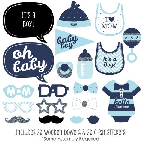 Photobooth Props Acc Photobooth Property Photo Prop Baby 5 hello one blue and silver boy baby shower photo booth props kit 20 ct ebay