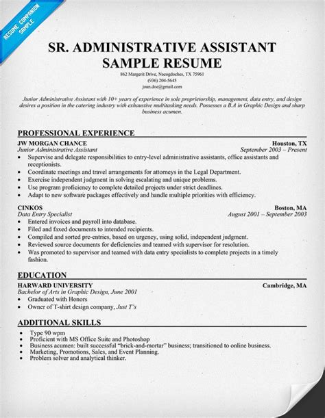 resume sle for administrative assistant position senior administrative assistant resume resumecompanion