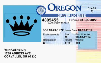 oregon id card template future states