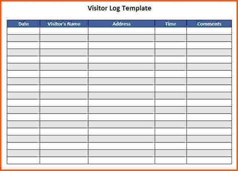 visitor log template business template
