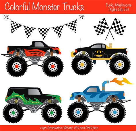 monster truck videos free download digital clipart colorful monster trucks for scrapbooking