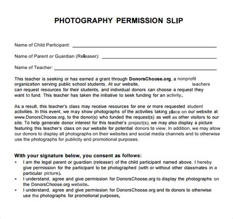 photography permission form template sle permission slip 14 documents in word pdf