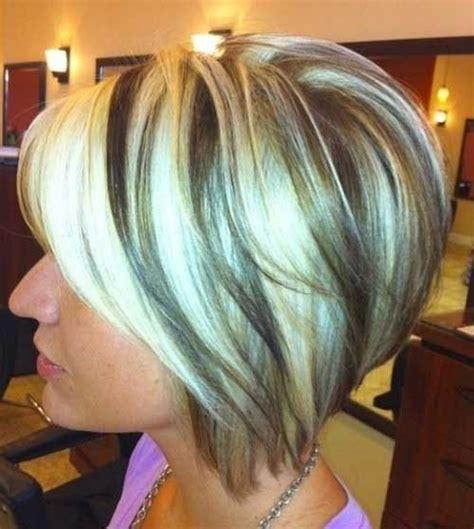 inverted bob and blonde or brunette highlight brown blonde short inverted bob hairstyles