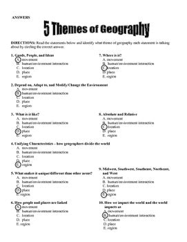 five themes of geography worksheet answers 5 themes of geography by the creative cabinet teachers