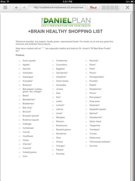printable daniel plan shopping list shopping list for the daniel plan recipes pinterest