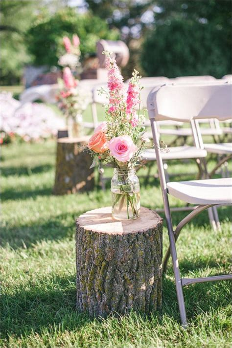 Vintage Wedding Aisle Decorations by Rustic Stump And Floral As Wedding Ceremony Aisle Decor