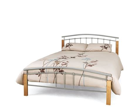 Beech Bed Frame Tetras Silver Metal And Beech Bed Frame Frances Hunt