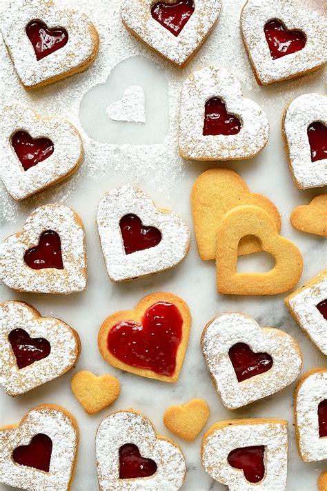 valentines biscuits linzer cookies recipe dishmaps