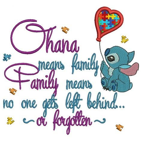 no one left to ohana mean family and family means no one gets left behind or forgotten looks like stitch