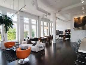 loft interior design and decorating with bold orange color