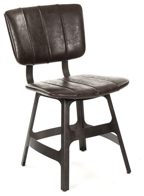 Robertson Rustic Industrial Espresso Brown Leather Iron Rustic Leather Dining Chairs