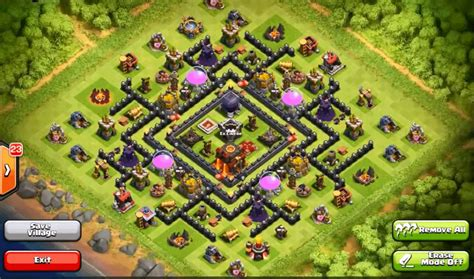 layout of coc top 10 clash of clans town hall level 9 defense base
