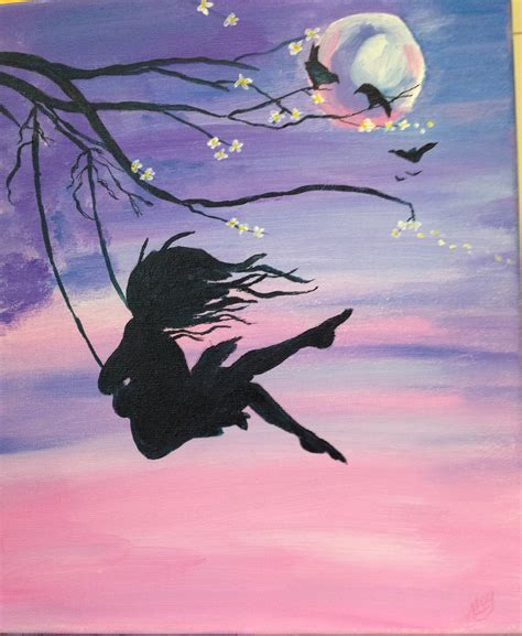 swing painting girl on swing painting www pixshark com images