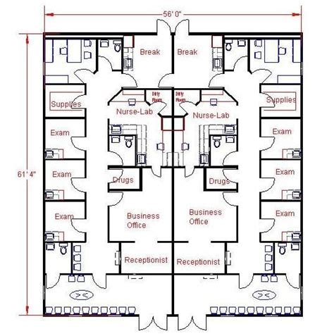 Medical Clinic Floor Plans | floor plan for 56x61 modular medical clinic tina al