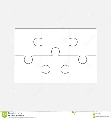 six jigsaw puzzle parts blank 2x3 pieces stock
