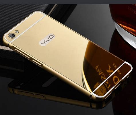 Vivo V5 Luxury Mirror Clear View Flip Cover Flipco Murah luxury aluminium metal bumper acrylic mirror back cover for vivo v5