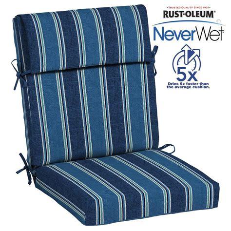 allen roth neverwet  piece blue coach stripe high  patio chair cushion  lowescom