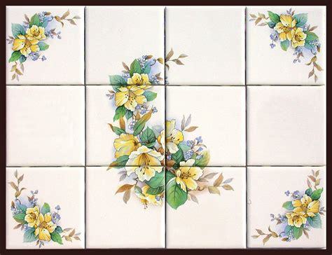 flower design tiles ceramic tile murals with matching accent tiles fth