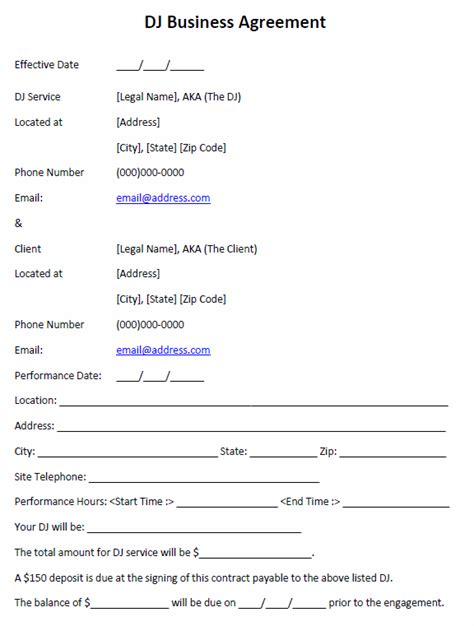 mobile dj contract template mobile dj contract template new free printable invoice