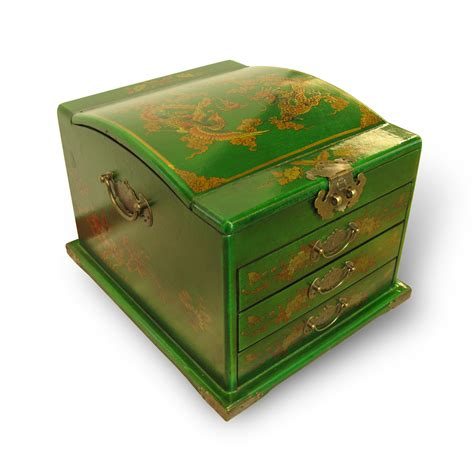 Handmade Jewellery Box - dressing jewellery box leather surface green