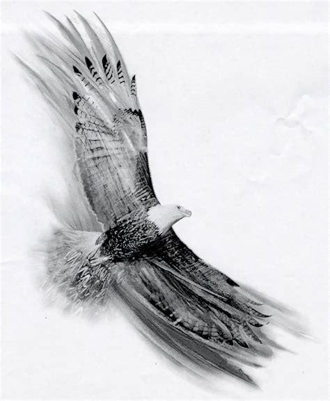 black and grey flying eagle tattoo design by basixofblack