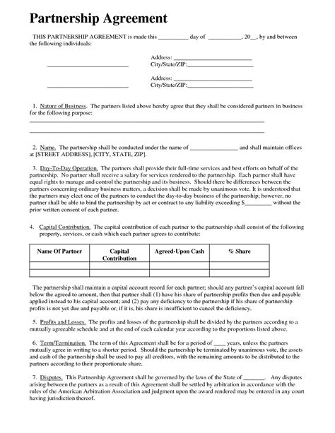 partnership business agreement template partnership agreement business templates