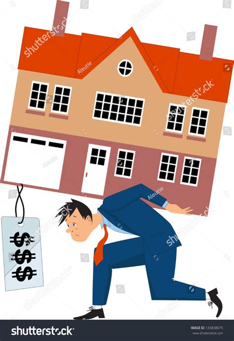 mortgage on a house depressed man carrying a house with a huge mortgage price tag vector illustration