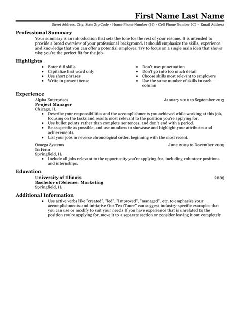 experienced resume template free resume templates fast easy livecareer