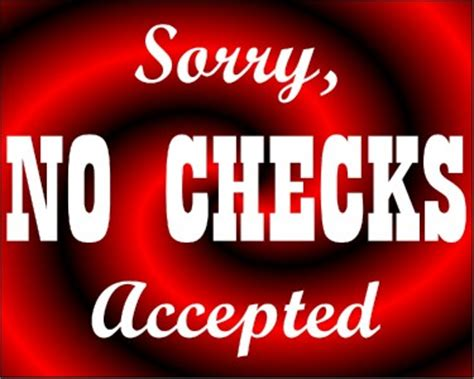 List Of With No Background Check No Checks Accepted Vinyl Decal Sign You Can Customize Ebay