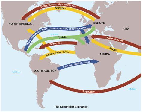 columbian exchange map annotated map columbian exchange swimnova