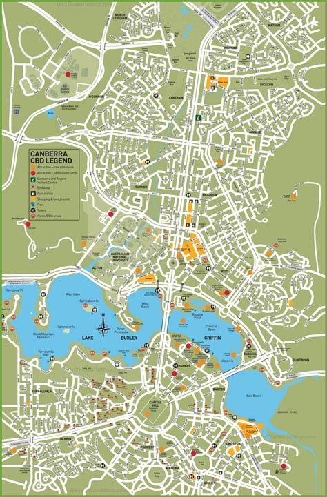 tourist map australia canberra tourist map