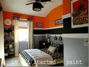 Blue and orange boy s room with white and blue horizontal striped modern world furnishing designer