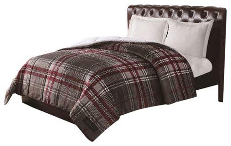 remington ultra velvet grey plaid comforter traditional