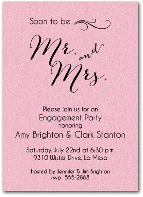 mr and mrs wedding invitation address shimmery pink mr mrs engagement invitations