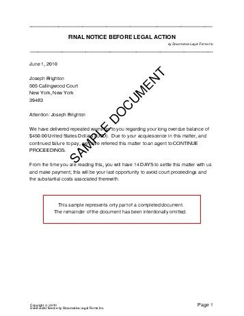 Resume Samples Used In Canada by Final Legal Notice Usa Legal Templates Agreements