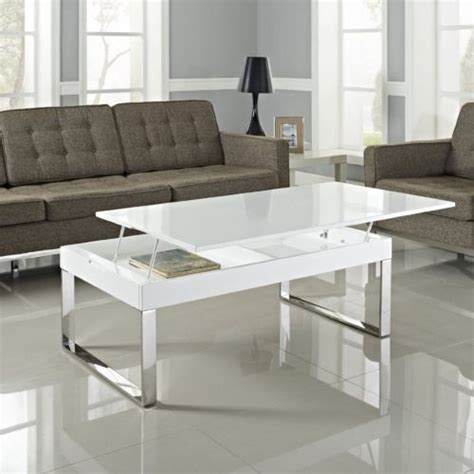 Lift Top Coffee Table White Modern White Glass Chrome Coffee Table Storage Lift Top