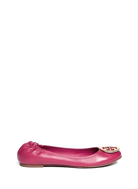 burch sale shoes flats burch reva leather ballet flats in pink lyst