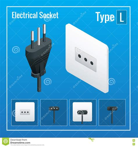 l socket and cord set isometric switches and sockets set type l ac power