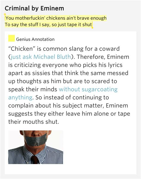 Eminem Criminal Record You Motherfuckin Chickens Ain T Brave Enough To Say The