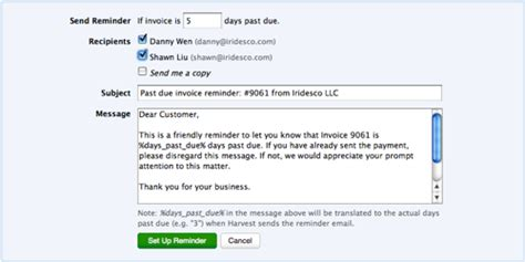 feature automatic late invoice reminder harvest