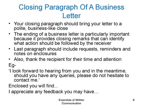 business letter closing paragraph principles of written communication