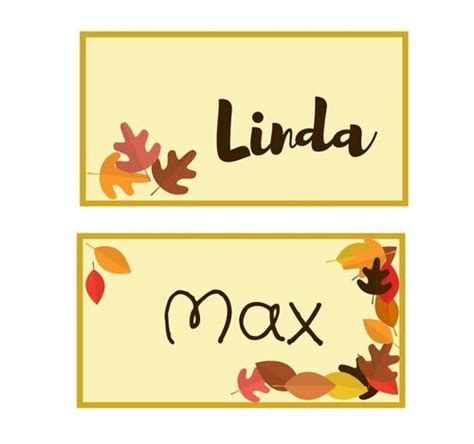 printable fall place cards template autumn leaf printable place cards allfreepapercrafts