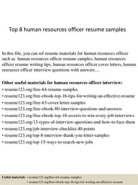 Resume Human Resources Officer Top 8 Human Resources Officer Resume Sles