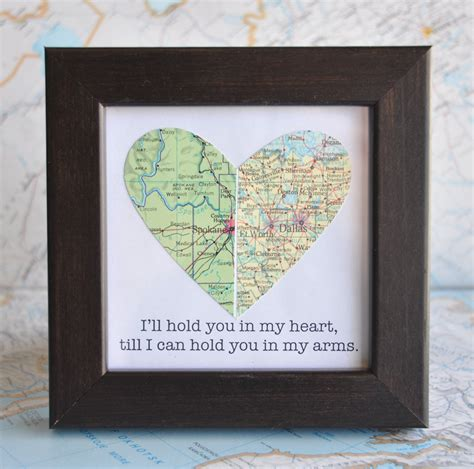 long distance relationship couple map heart framed with text