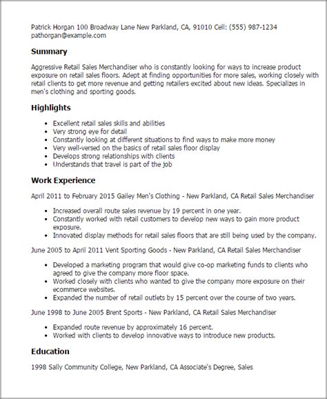 fantastic retail resume template sle resume for retail merchandiser tomyumtumweb