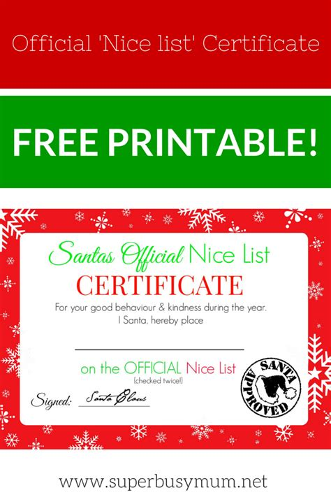 christmas nice list certificate free printable super
