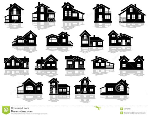 Cottage Silhouette by Black Silhouettes Of Houses And Cottages Stock Vector